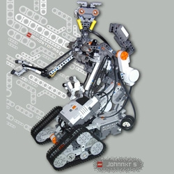 Johnny Five ~ made out of Lego Mindstorms ~ complete with Differential Drive, Rotating Head, Raising Torso, Moving Laser, Grabbing & Lifting Hands, Hand Follower,  Line Follower,  Speech and music, Double NXT system