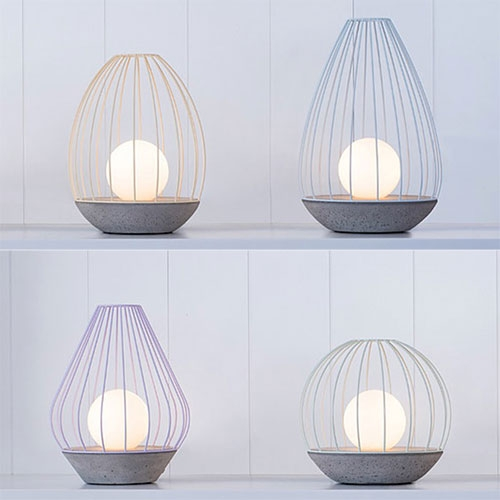 Ardoma Design - OVA Lights. Made of concrete and a steel cage.