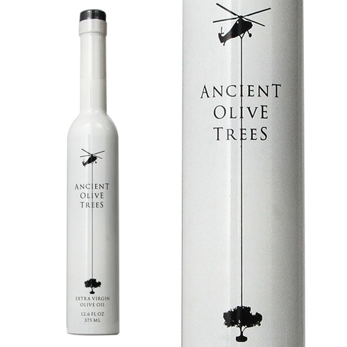 Ancient Olive Trees Extra Virgin Olive Oil - lovely black and white bottle with fun helicopter graphic.