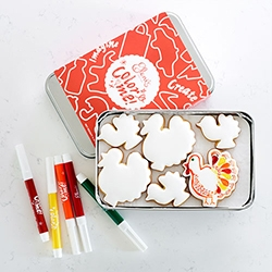 Color Me Thanksgiving Cookies - flooded with smooth royal icing, you can decorate them yourself with edible markers.