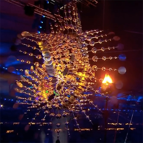 The 2016 Olympic Cauldron in Rio by American Kinetic Wind Sculptor, Anthony Howe. Cloud Light IV is a mesmerizing 40 foot diameter, two-ton Olympic cauldron which symbolizes the sun as it spirals endlessly. See how it was made!