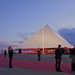 OMA built Kanye West a pyramid for this year's Cannes Film Festival.