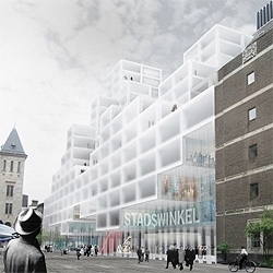 OMA's proposal for Rotterdam's City Hall extension: A pixelated sustainable building.