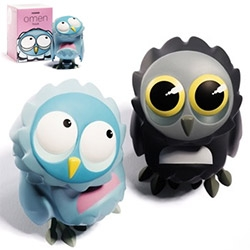"COARSE Omen Blinks are coming to SDCC through Rotofugi + Squibbles Ink booths ~ the Hoot and Hush characters will be a mere 3.5"" tall and adorably packaged!"