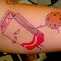 One dozen unique food-related tattoos. Cookies + milk = twu luv.