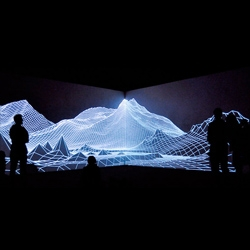 The Onedotzero Festival in London included this incredible audiovisual installation of Iceland's Eyjafjallajökull volcano by Joanie Lemercier of AntiVJ.