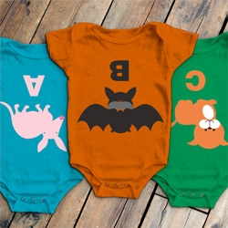 "Adorable ABC Onesies by W+K Studio! ""Aardvark""  with an ""A,"" ""Bat"" with ""B"" and ""Cat"" with ""C,"" all facing the kid when they look down!"