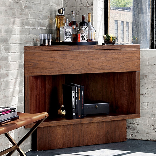 Topanga Corner Bar - CB2 in collaboration with Kravitz Design by Lenny Kravitz. Walnut and hardwood veneer over engineered wood.