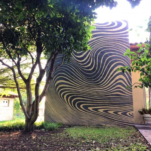 New opart outdoor mural by mexican visual artist Gibran Julian
