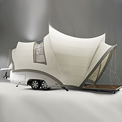 Belgian architect Axel Enthoven has designed a mobile holiday home that resembles the Sydney Opera House.