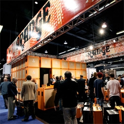 Orange Amps at NAMM ~ love the booth design ~ they built a giant structure of Amps!
