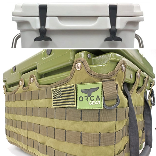Orca Coolers - the MOLLE wrap lets you make it even more multipurpose with endless interchangeable pouches and more. The whale tail latches are a great design detail.