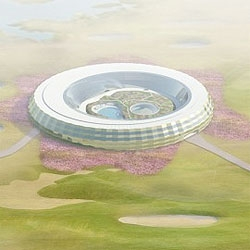 Dutch architects VMX designed a round building for the new Hilton Hotel in Ordos, in the middle of the Mongolian desert.