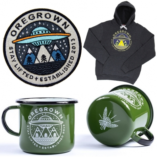 Oregrown - great designs from Brian Steely for their patches, hoodies, candles, stickers, enamel camping mugs and more. Part Oregon farm-to-table cannabis company/dispensary and part clothing/accessories store.