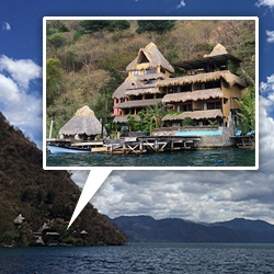The Laguna Lodge is tucked away on the lakeshore of Lake Atitlan, Guatemala. Only accessible by boat, it's an eco-oasis of relaxation on 100 acres of nature preserve with a delicious locally grown, organic, vegetarian restaurant on site.