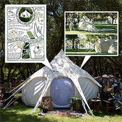 "Lotus Belle Tents - they look part ""normal"" tent + part yurt + part inflatable. And even more incredible is how spacious it is, how easy it is to assemble, and the adorable illustrated instruction sheet!"