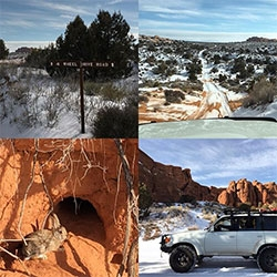 Arches National Park Off-Roading 4x4 Trails are stunning. We tackled 20+ miles of it in the NOTFZJ80 and barely saw another car or human. Absolutely beautiful on a sunny, snow covered, winter day.