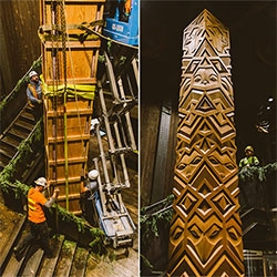 Aleph Geddis' hand carved wood totem for Filson flagship store in Seattle is a towering 18.5 feet tall! Absolutely stunning depictions of a wolf, owl, raccoon, falcon, and bobcat. See more pictures and a peek at the making of.