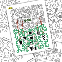 IKEA (Adult?) Coloring Pages! #ColorWithIKEA - interesting two sided pictures that make it easy to share the experience with a friend sitting across from you.