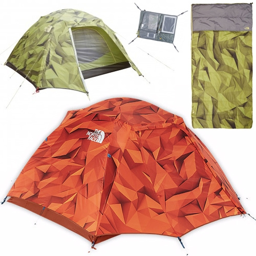 North Face Homestead Collection of tent, shelter, and sleeping bag feature a stunning faceted, shadowy, digi-camo of sorts. Beautiful pattern by 3D illustrator Timothy J. Reynolds.
