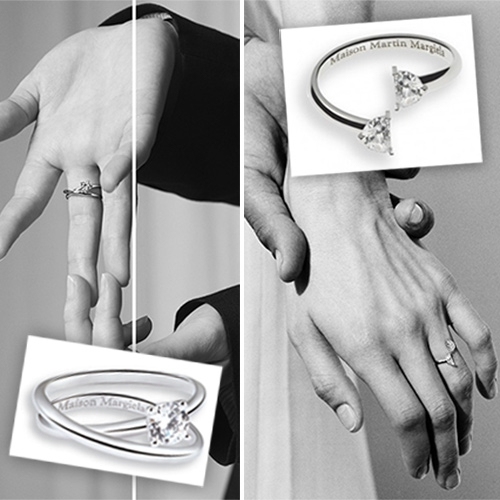 Maison Margiela Anamorphose Collection and Heritage Solitaire Collection. A twist on the classic diamond solitaire ring with elegant loops and split diamonds.