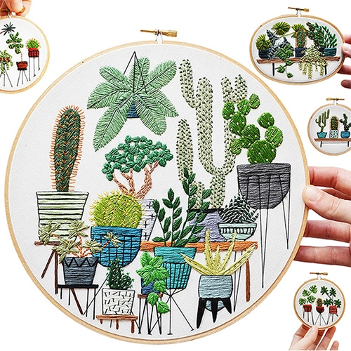 Stunning Plant Embroidery by Sarah K. Benning. They will have you looking at the plants and leaves around you in a whole new light (as well as lovely planters, stands, desks, rugs and more!)