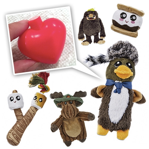 Heart shaped squeakers! A delightfully designed surprise inside Petco Leaps & Bounds Camper collection of dog toys.