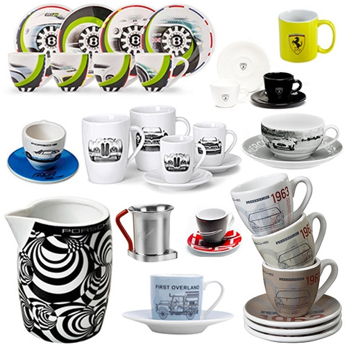 Luxury Automotive Espresso Cup Sets (and a few crazy mugs and a milk/sugar set) - because we were curious how many you could find direct from brands, and there are a LOT - and they are quite fun!