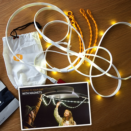 Power Practical Luminoodle. USB powered LED light strip that is waterproof, has magnets and ties, and acts as a lantern in a stuff sack. Such a simple idea, executed so thoughtfully, they've really elevated the LED strip.