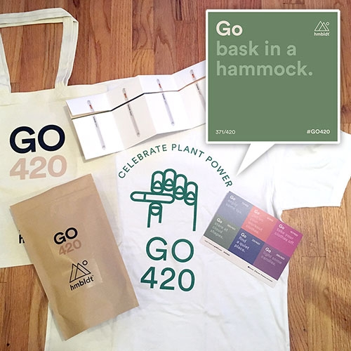 "GO420 Kit - complete with hmbldt x Mister Green ""Celebrate Plant Power"" tshirt, tote, and ""420 ways to make this 420 the healthiest day of the year"" - Interesting campaign to flip the view of 420 to focus on health + wellness."