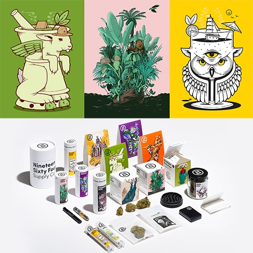 1964 Supply Company - a new cannabis brand embracing artists like Jeremy Fish, Tristan Eaton, Katie So, Joe Wilson and Ben Tour for fun packaging artwork inspired by the strains.