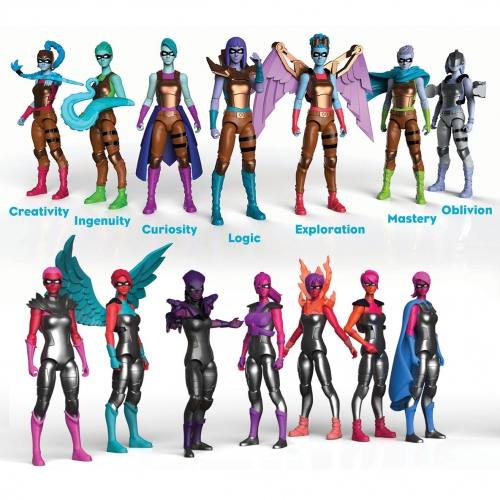 I Am Elemental Female Action Figures. Currently available: Series 1 - Courage and Series 2 - Wisdom Warriors. (Very Batman Animated Series meets Wonder Woman?)