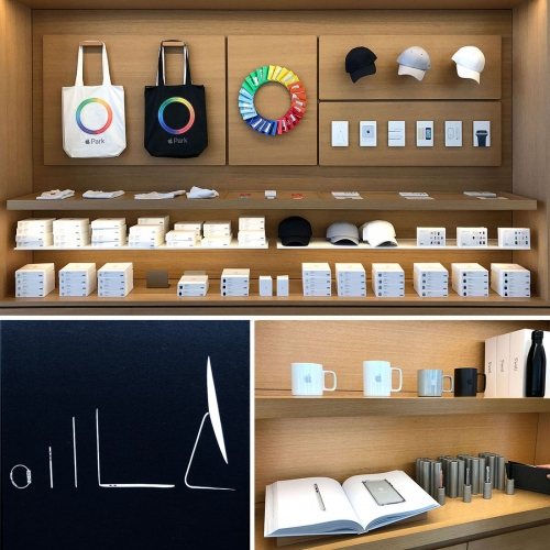 Apple Store Offline Exclusives at Apple Park and One Infinite Loop Stores in Cupertino. Both have a different selection of Apple goods from t-shirts and mugs to totes, cards, baby onesies, notebooks and more.