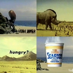 Continuing on Cup Noodles, we couldn't help ourselves and rounded up about 20 ads for you to watch... the caveman series has me laughing so hard tonight... also the No Border! and Freedom campaigns.