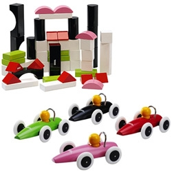 Brio's modern line of kids toys has a great color palette that is far more fun than the usual primary colors!