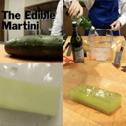 How to make an Edible Martini (video) ~ a gin/vermouth infused flash pickled cucumber... a scientific/culinary alternative to jello shots for your next party?