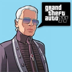 Karl. Karl Lagerfeld. In GTA IV.... with his own RADIO STATION. I suddenly feel less silly having pre-ordered the crazy pack from #4944... also link to the actual station at #9785