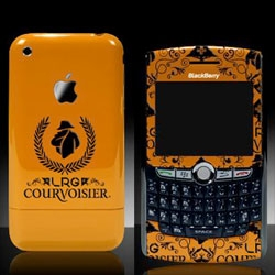 Courvoisier teams up with LRG - and in addition to an exclusive clothing line... some exclusive customized iphones, blackberry curves, and ipods too! Adorable logo for the collab...