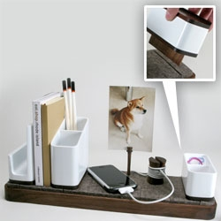 Loving this new desk/cable organizer from Kaiju Studios - made of walnut wood and felt