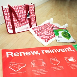 Sweet Reusable Bag - and story! Target, Newsweek, and Terracycle team up  to create these ReTote bags out of old Target Plastic Bags - which you can send in to get a coupon for a free bag.