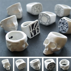 Mixko expands their line of Bone China rings ~ from an updated skull and barbie/ken inspired heads to 1D multi faceted diamond rings... check out the new collection!