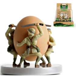 I found the Egg Soldier Eggcups by Reiko Kaneko at the ICFF designboom mart! And they are even more adorable and ready to wage war on your bread egg soldiers in person!