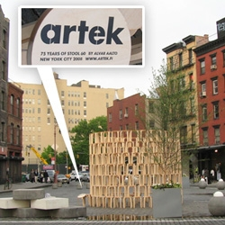 Artek celebrates the 75th Anniversary of the Iconic Stool 60 by constructing an installation of hundreds of them in Gansevoort Square... so tempting to climb up on them. See the pics of it up close!