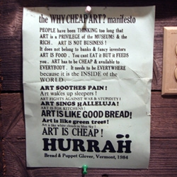 Found in the bathroom wall of the log cabin in VT ~ The WHY CHEAP ART? Manifesto... a fun read, from 1984