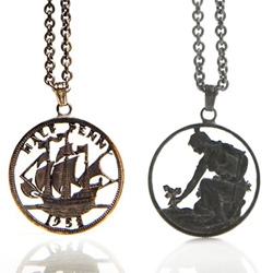 Old Money by Yoko Devereaux is a limited edition collection of necklaces created by hand carving coins till only their primary designs show.