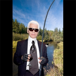 Perfect gift for Father's Day? Chanel now has a £9,170 Fly Fishing Rod ~ complete with Chanel Flies and a quilted black leather box... (ny-mag photoshopped this silly pic of karl)