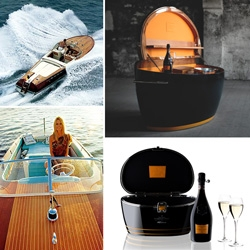 The classic Italian Yacht maker, Riva, is the latest design collaborator with Veuve Clicquot ~ not only do i have a peek at the new products, but the sketches of vintage boat designs are so sweet!