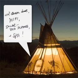 Luxury Teepees! With WIFI! Organic composting outhouses! and Solar-Powered DVD players?!?! also queen beds, spa, fireplaces, etc... in the Yukon!