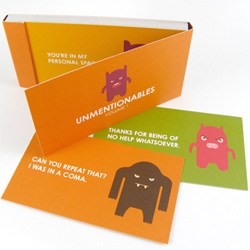 """Adorable unentionable cards ~ high color glossy cards with grumbly monsters saying what you might wish you could... """"please do not procreate"""" or """"thanks for being no help whatsoever"""" and more!"""