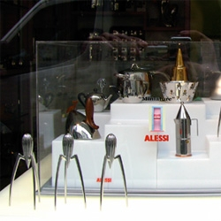 Alessi Miniatures ~ seeing them in context of the originals in the shop window make them far more fun than most pics online... can't you see using the starck citrus squeezer for designer kumquat juice shots?
